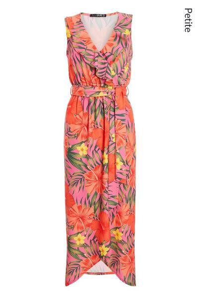 Petite Orange Pink and Green Frill Maxi Dress